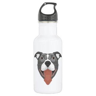Illustration Dog Smiling Pitbull 532 Ml Water Bottle