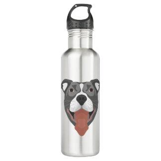 Illustration Dog Smiling Pitbull 710 Ml Water Bottle