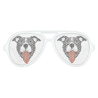 Illustration Dog Smiling Pitbull Aviator Sunglasses