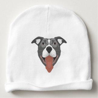 Illustration Dog Smiling Pitbull Baby Beanie