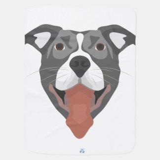 Illustration Dog Smiling Pitbull Baby Blanket