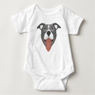 Illustration Dog Smiling Pitbull Baby Bodysuit