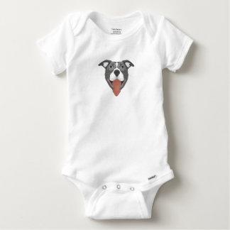 Illustration Dog Smiling Pitbull Baby Onesie