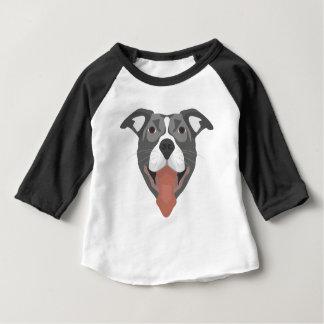 Illustration Dog Smiling Pitbull Baby T-Shirt