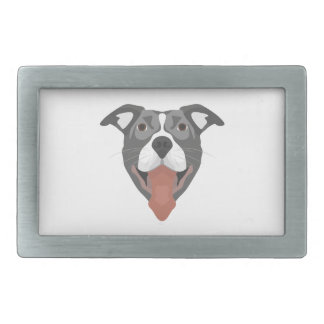 Illustration Dog Smiling Pitbull Belt Buckles