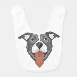 Illustration Dog Smiling Pitbull Bib