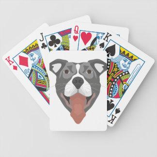 Illustration Dog Smiling Pitbull Bicycle Playing Cards