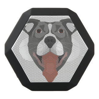 Illustration Dog Smiling Pitbull Black Bluetooth Speaker