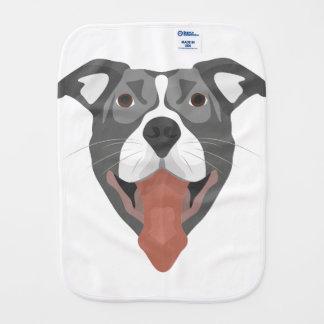 Illustration Dog Smiling Pitbull Burp Cloth