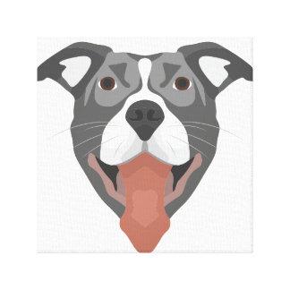 Illustration Dog Smiling Pitbull Canvas Print