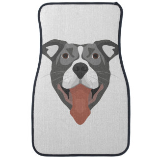 Illustration Dog Smiling Pitbull Car Mat