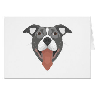 Illustration Dog Smiling Pitbull Card