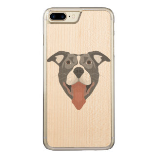 Illustration Dog Smiling Pitbull Carved iPhone 8 Plus/7 Plus Case