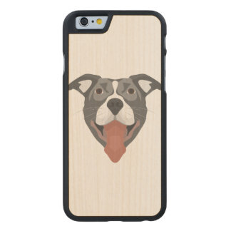 Illustration Dog Smiling Pitbull Carved Maple iPhone 6 Case