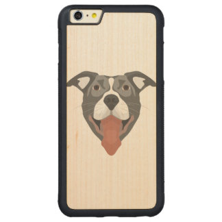 Illustration Dog Smiling Pitbull Carved Maple iPhone 6 Plus Bumper Case