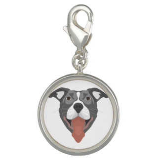 Illustration Dog Smiling Pitbull Charm