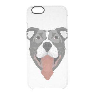 Illustration Dog Smiling Pitbull Clear iPhone 6/6S Case