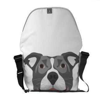 Illustration Dog Smiling Pitbull Courier Bag