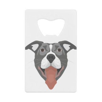 Illustration Dog Smiling Pitbull Credit Card Bottle Opener