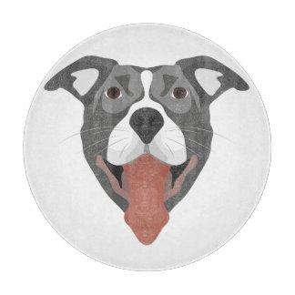 Illustration Dog Smiling Pitbull Cutting Board
