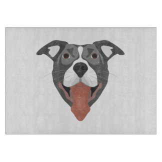 Illustration Dog Smiling Pitbull Cutting Board