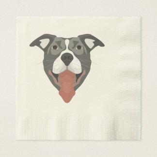 Illustration Dog Smiling Pitbull Disposable Napkin