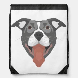 Illustration Dog Smiling Pitbull Drawstring Bag
