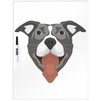 Illustration Dog Smiling Pitbull Dry Erase Board