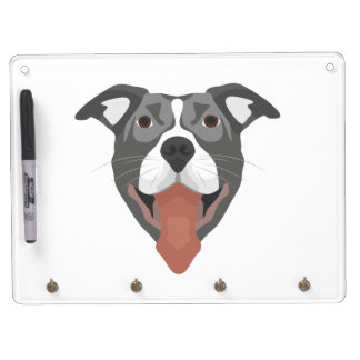 Illustration Dog Smiling Pitbull Dry Erase Board With Keychain Holder