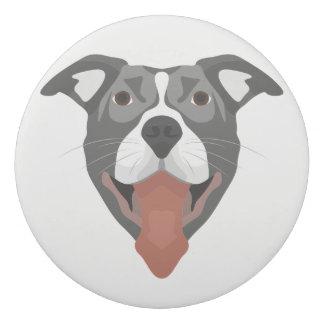 Illustration Dog Smiling Pitbull Eraser