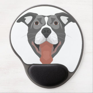 Illustration Dog Smiling Pitbull Gel Mouse Pad