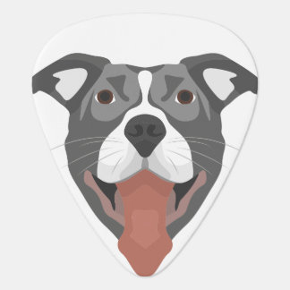 Illustration Dog Smiling Pitbull Guitar Pick