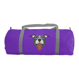 Illustration Dog Smiling Pitbull Gym Bag