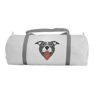 Illustration Dog Smiling Pitbull Gym Bag