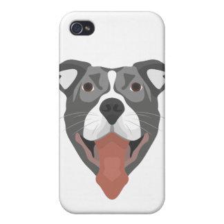 Illustration Dog Smiling Pitbull iPhone 4/4S Cover