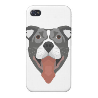Illustration Dog Smiling Pitbull iPhone 4 Covers