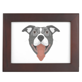 Illustration Dog Smiling Pitbull Keepsake Box
