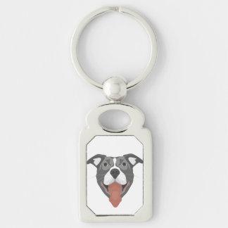 Illustration Dog Smiling Pitbull Keychain