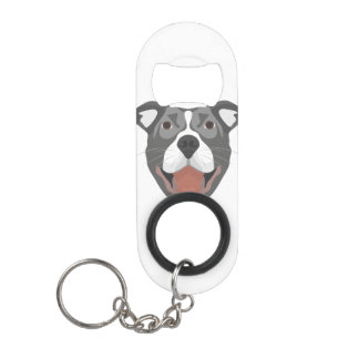 Illustration Dog Smiling Pitbull Keychain Bottle Opener
