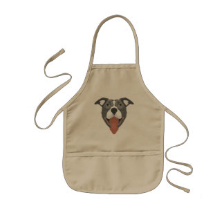 Illustration Dog Smiling Pitbull Kids Apron