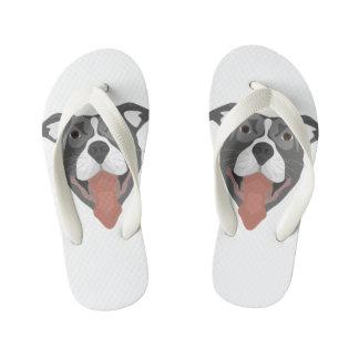 Illustration Dog Smiling Pitbull Kid's Flip Flops