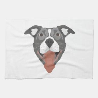Illustration Dog Smiling Pitbull Kitchen Towel