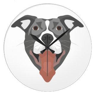 Illustration Dog Smiling Pitbull Large Clock