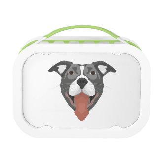 Illustration Dog Smiling Pitbull Lunch Box