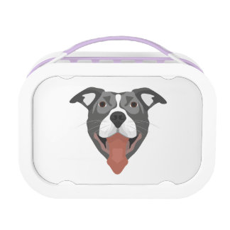 Illustration Dog Smiling Pitbull Lunch Box