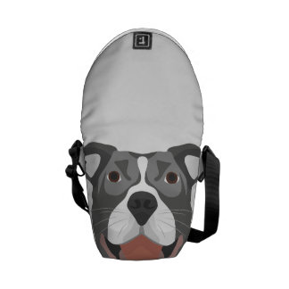 Illustration Dog Smiling Pitbull Messenger Bag