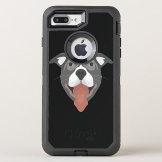Illustration Dog Smiling Pitbull OtterBox Defender iPhone 8 Plus/7 Plus Case
