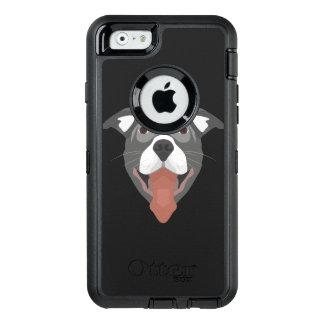 Illustration Dog Smiling Pitbull OtterBox Defender iPhone Case
