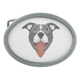 Illustration Dog Smiling Pitbull Oval Belt Buckles