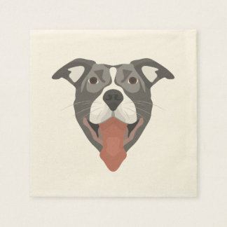 Illustration Dog Smiling Pitbull Paper Napkins
